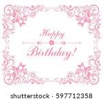 happy birthday card.... | Shutterstock .eps vector #597712358