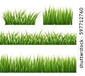 green grass seemless borders... | Shutterstock .eps vector #597712760