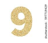 gold glitter alphabet number 9. ... | Shutterstock .eps vector #597719429