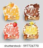 honey  strawberry  vanilla and... | Shutterstock .eps vector #597726770