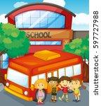 children standing by schoolbus... | Shutterstock .eps vector #597727988