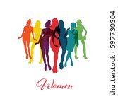 vector woman silhouette coulor... | Shutterstock .eps vector #597730304