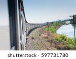 train sky and lake | Shutterstock . vector #597731780