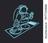 neon astronaut dj vector... | Shutterstock .eps vector #597734888