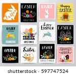 easter greetings vector... | Shutterstock .eps vector #597747524