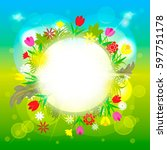 a circle floral frame on a... | Shutterstock .eps vector #597751178