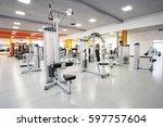 interior of a fitness hall | Shutterstock . vector #597757604