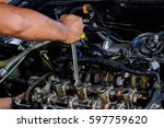 the engine car while overhaul...   Shutterstock . vector #597759620