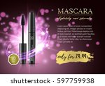 luxury mascara ads  black and... | Shutterstock .eps vector #597759938