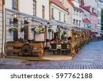 outdoor cafe in the old town | Shutterstock . vector #597762188