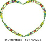 vector drawing flower with... | Shutterstock .eps vector #597764276