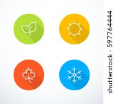 vector season icons | Shutterstock .eps vector #597764444