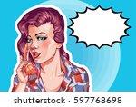 young woman vintage portrait ... | Shutterstock .eps vector #597768698