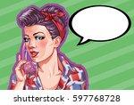 young woman vintage portrait ... | Shutterstock .eps vector #597768728