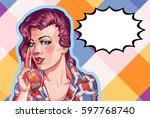 young woman vintage portrait ... | Shutterstock .eps vector #597768740
