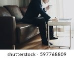 businessman is working at the... | Shutterstock . vector #597768809
