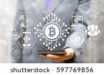 blockchain finance web money... | Shutterstock . vector #597769856