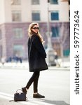 young stylish beautiful woman... | Shutterstock . vector #597773624