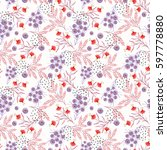 seamless floral pattern.... | Shutterstock . vector #597778880