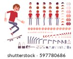 teenager boy character creation ... | Shutterstock .eps vector #597780686