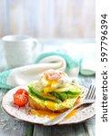breakfast sandwich with... | Shutterstock . vector #597796394