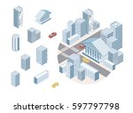flat 3d isometric city business ... | Shutterstock .eps vector #597797798