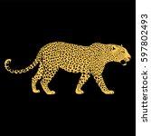 leopard face tattoo  vector... | Shutterstock .eps vector #597802493