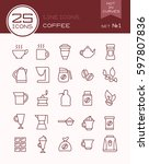 line icons coffee set | Shutterstock .eps vector #597807836
