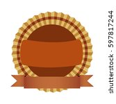 Brown Round Emblem With Ribbon...