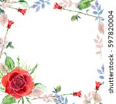 scarlet rose  watercolor ... | Shutterstock . vector #597820004