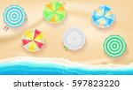 set of colorful beach sun... | Shutterstock .eps vector #597823220
