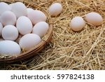 Duck Eggs In Basket On A Straw...