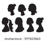 vector set silhouette of woman... | Shutterstock .eps vector #597825863