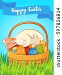 card with sleeping the easter... | Shutterstock .eps vector #597826814