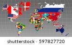 illustration   map of the world ... | Shutterstock .eps vector #597827720