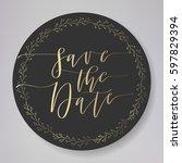 wedding typography elements.... | Shutterstock .eps vector #597829394