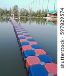 red and blue floating bridge on ...   Shutterstock . vector #597829574
