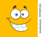 smiling cartoon funny face with ... | Shutterstock . vector #597839144