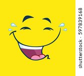 laugh cartoon funny face with... | Shutterstock . vector #597839168