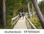 Couple Walk On Wooden Deck In...