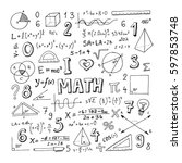 mathematical doodle handwriting ... | Shutterstock .eps vector #597853748