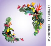 tropical paradise.toucans and... | Shutterstock .eps vector #597856154