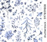 seamless pattern with blue... | Shutterstock . vector #597859808