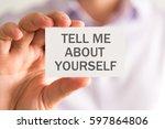 closeup on businessman holding... | Shutterstock . vector #597864806