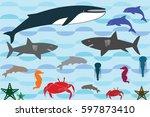 underwater animals landscape... | Shutterstock .eps vector #597873410