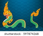 king naga  big snake thai art... | Shutterstock .eps vector #597874268