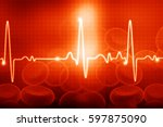 ecg with blood cells.... | Shutterstock . vector #597875090