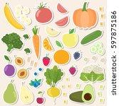 set of fresh healthy vegetables ... | Shutterstock .eps vector #597875186