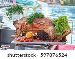 whole roasted lamb with... | Shutterstock . vector #597876524
