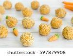 carrot cake balls on kitchen... | Shutterstock . vector #597879908
